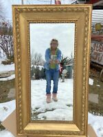 Vtg ORNATE VICTORIAN Full Length LARGE Beveled Mirror Barbola Wood Gold Frame