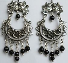 Mexican  0.925 Sterling Silver Earrings Onyx and Birds Frida Kahlo Style