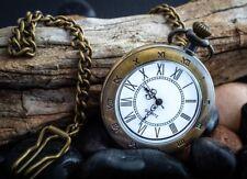 New Men FOB analog pocket Bronze  quartz watch Roman Numeral design with Chain