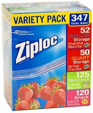 Ziploc Variety Pack 347 Total Bags SC Johnson Variedad de bolsas de almacenaje