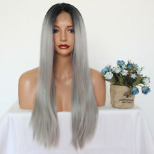 Ombre Gray Synthetic Lace Front Wigs Heat Resistant Natural Long Straight Hair
