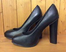 Faith Negro Genuino Cuero Tacón Zapatos Talla 5