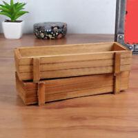KE_ Rectangle Wooden Garden Planter Window Box Trough Pot Succulent Flower Pla