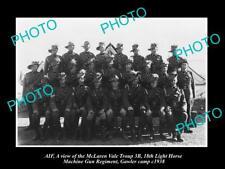 OLD LARGE HISTORIC PHOTO OF McLAREN VALE LIGHT HORSE MACHINE GUN ANZACS c1938