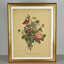 Jean Louis Prévost Prevost Engraving Plate Print Botanical Flowers Framed 1938