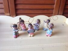 6 BLACK AFRICAN AMERICAN ANGELS CHOIRS & BAND CHRISTMAS ORNAMENTS HALOS & WINGS