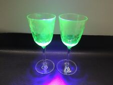 Vaseline Art Cut Glass Victorian/Bohemia Crystal Drinking Cup Wine Liquor Drink