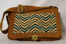 Brown Leather & Multi-Color Needle Point Womens Shoulder BagW/Gold Tone Lock B27