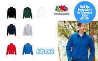 Fruit of the Loom Mens 1/2 Half Zip Neck Sweatshirt Top in 7 Colours S - XXL New