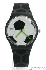 Swatch Originals New Gent FOOTBALLISSIME Black Silicone Watch 41mm SUOZ216 $75