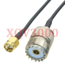 Rg174 6inch Rf pigtail Sma male plug pin to So239 Uhf female straight Cable