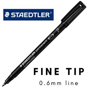 STAEDTLER Lumocolor Permanent Marker Pens - Black Colour FINE TIP Quick Dry OHP