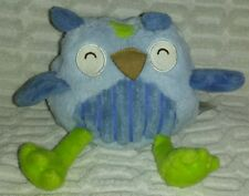"""6""""to7""""2012 Demdaco Nat & Jules Ollie Owl Colorful Blue Green Plush"""