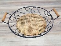 "Vintage rustic Woven Wicker 19"" twisted Metal Table Centerpiece with handles!!"