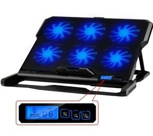 Laptop Cooler 2 USB Ports Six Fans Cooling Pad Notebook Stand for 12-15.6 inch