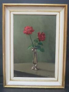 Roses Still Life Oil C1950 Monogrammed Needs Research English? French? Dutch?