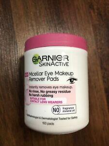 Garnier Skin Active Micellar Eye Makeup Remover Pads 100 Count New Sealed
