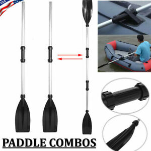 1 Pair Double-Ended Detachable Afloat Oars Paddles Boat Kayak Raft Canoe Black