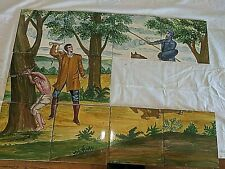 "Antique Vtg Hand Painted Mural Wall Tiles 6"" By 6"" Slave Whipping Scene Partial"