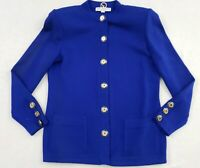 Vintage St John by Marie Gray Royal Blue Gold Button Knit Jacket Size Small