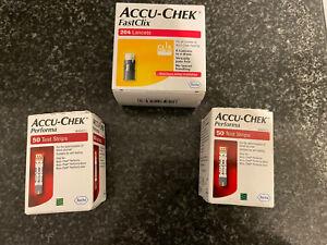 Accu Chek Performa  blood glucose test strips 2 X 50 Plus 204 Fast Clix Lancets