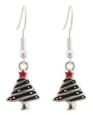 Zest Christmas Tree Earrings for Pierced Ears Black & Silver