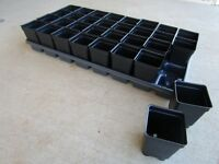 Set of 3 Divided Trays and 96 - 2.5 inch SQUARE DEEP NURSERY POTS Landmark