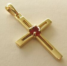 UNISEX GENUINE 9K 9ct SOLID Gold RUBY CROSS Pendant Gift