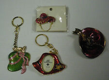 RED HAT LADIES HINGED TRINKET BOX,KEY CHAIN PICTURE FRAME ,KEY CHAIN & PIN