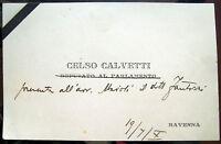 1932 AUTOGRAFO CELSO CALVETTI RAVENNA PORTO CORSINI