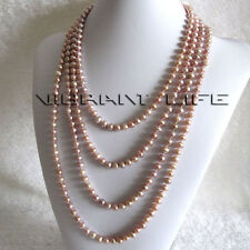 "100"" 6-8mm Lavender Freshwater Pearl Necklace Strands Jewelry Natural Color"
