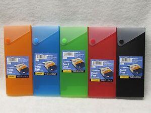 Slider Pencil Case School Plastic Pen Organizer Box YOU PICK COLOR FREE SHIPPING