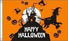 Witch scene Happy Halloween Orange Celebration 5ft x3ft (150cm x 90cm) Flag