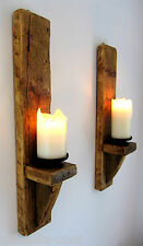 PAIR OF LARGE TALL 60CM SOLID PLANK WOOD RUSTIC WAXED WALL SCONCE CANDLE HOLDER