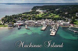 Aerial View of Mackinac Island, Harbor, Main Street, Michigan, MI --- Postcard