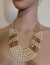 3Pc.  Beige And Brown Shell  Beaded Necklace And Earring Set