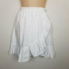J. Crew Skirt Size 2 White 100% Linen Faux Wrap Ruffle Knee Length