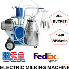 Electric Milking Machine Milker Cattle Bucket 25L Vacuum Piston Pump 64/min FDA