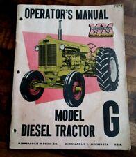 Minneapolis Moline Model G Diesel Tractor Operators Manual 1954