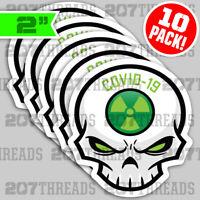 (10) GREEN ☢ DIE-CUT Toxic Skull Essential Worker Hard Hat Stickers USA ☢