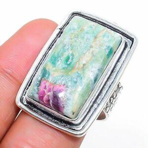 Ruby Fuchsite Gemstone Handmade 925 Silver Jewelry Ring Size 8.5 w192