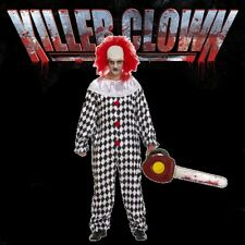 Adult KILLER SCARY CLOWN & WIG & Inflatable Chainsaw Fancy Dress Costume (H12)