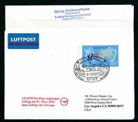 67636) LH FF Köln - Los Angeles USA 7.3.2002, Zudruck GAU Doppelnominale