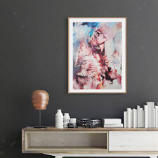Abstract Art Painting Oil Print Painting on Canvas Poster Girl and Wolf 01