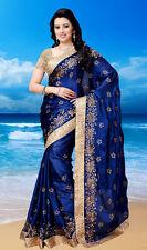 Smsaree Blue Georgette Saree Sari 993s