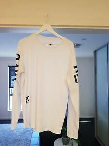 Mens G Star White Long Sleeve Tee Size Large