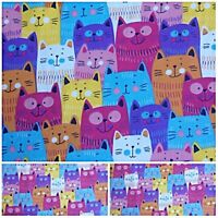 CARTOON CAT Cheap New Remnants Offcuts Fabric Bunting Patchwork Polycotton
