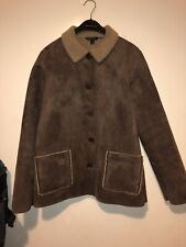 Ladies Boden Sheepskin Style Coat Size 14 Bitton Winter Warm Casual