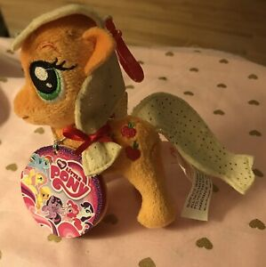 "4.5"" Aurora World My Little Pony Plush Applejack Apple Jack Backpack Clip-Ons"