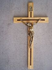 Classic Larger Mexican Cross Crucifix, Brass on Wood - Mexico